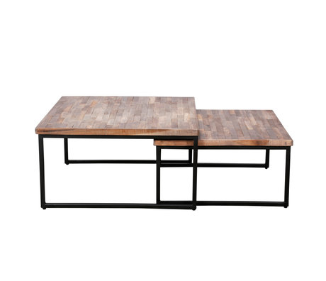 wonenmetlef Coffee table Rosie greywash brown wood steel set of 2