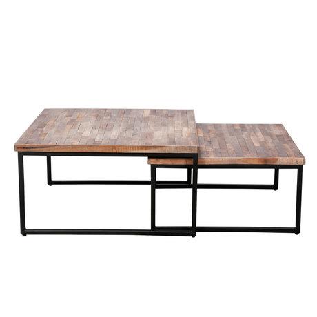 wonenmetlef Table basse Rosie gris acier brun bois acier set de 2