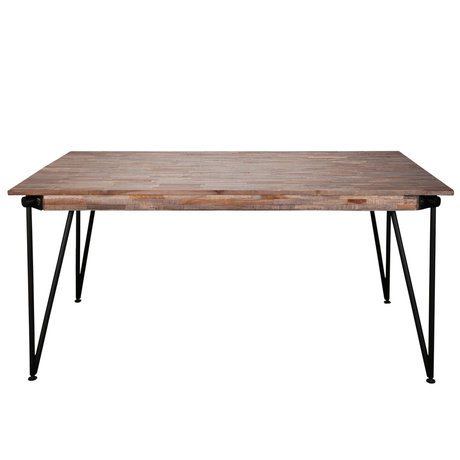 wonenmetlef Dining table Rosie greywash brown wood steel 200x100x78cm