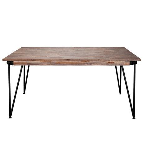 wonenmetlef Esstisch Rosie greywash braun Holz Stahl 200x100x78cm