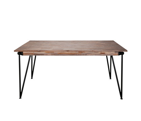 wonenmetlef Eettafel Rosie greywash bruin hout staal 165x90x78cm