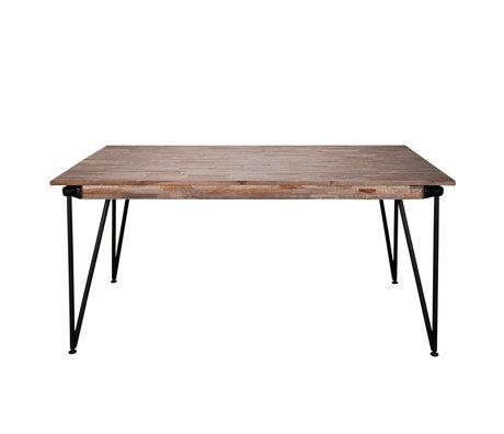 wonenmetlef Table à manger Rosie greywash brun bois acier 165x90x78cm