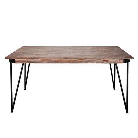 wonenmetlef Esstisch Rosie greywash braun Holz Stahl 165x90x78cm