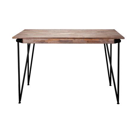 wonenmetlef Stehtisch Rosie greywash braun Holz Stahl 140x70x92cm