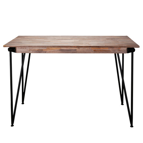 wonenmetlef Bar table Rosie greywash brown wood steel 140x70x92cm