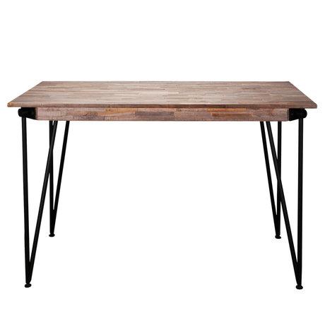 wonenmetlef Table de bar Rosie greywash brun bois acier 140x70x92cm