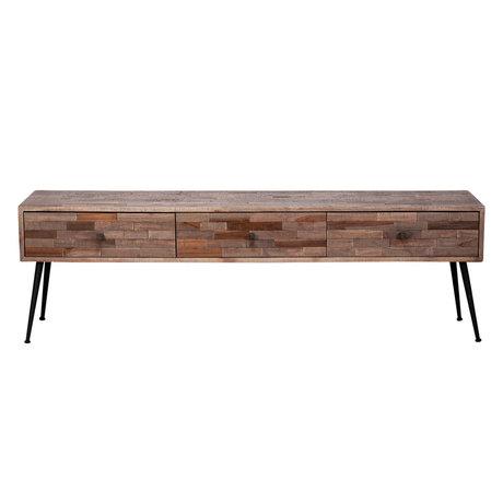 wonenmetlef Meuble de télévision Rosie en bois brun naturel acier 150x30x45cm