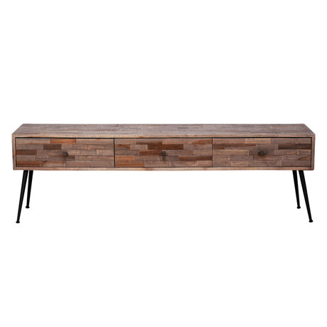 wonenmetlef TV furniture Rosie natural brown wood steel 150x30x45cm