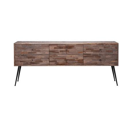 wonenmetlef Dressoir Rosie greywash bruin hout staal 180x30x76cm