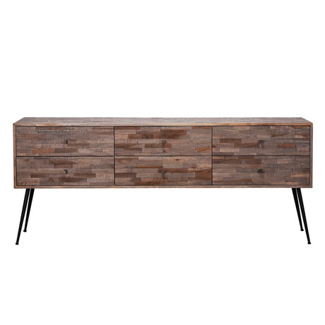 wonenmetlef Dresser Rosie greywash brown wood steel 180x30x76cm