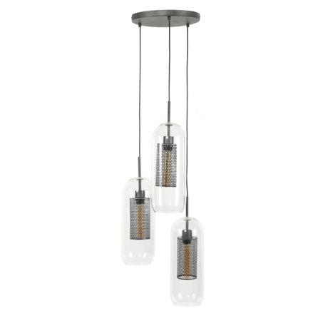 wonenmetlef Lampe Sus Sem 3 lumières vieil argent verre acier Ø35x150cm