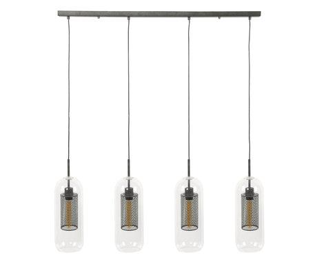 wonenmetlef Lampe Sus Sem à 4 lumières, verre argent vieilli, acier 106x15x150cm