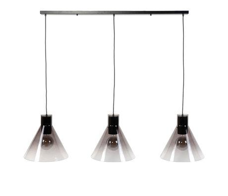 wonenmetlef Hanglamp Spence 3-lichts zwart glas metaal 150x38x150cm