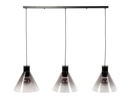 wonenmetlef Spence suspension 3 lumières verre noir métal 150x38x150cm