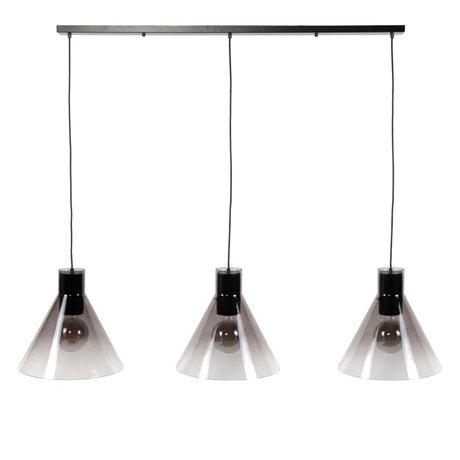 wonenmetlef Spence hanging lamp 3-light black glass metal 150x38x150cm