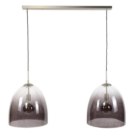 wonenmetlef Suspension Ruby 2 lumières verre noir nickel 117x40x150cm