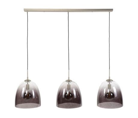 wonenmetlef Hanglamp Ruby 3-lichts zwart glas nikkel 136x33x150cm