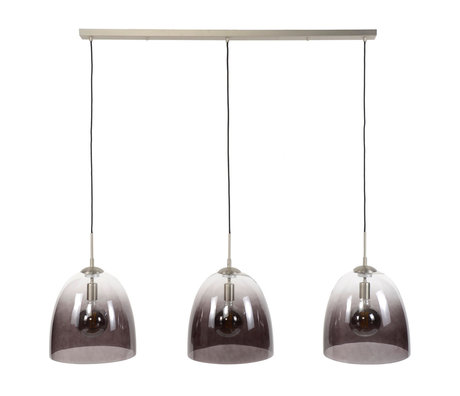 wonenmetlef Ruby hanging lamp 3-light black glass nickel 136x33x150cm
