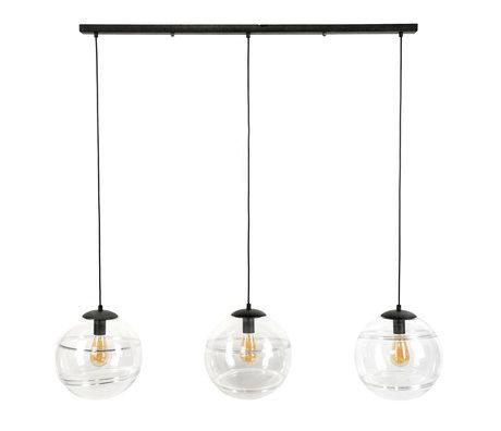 wonenmetlef Suspension Noa 3 lumières verre clair 128x30x150cm