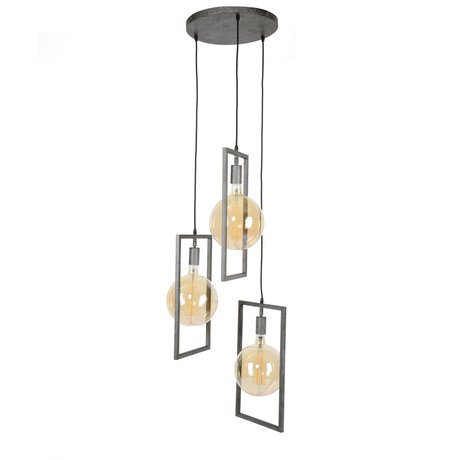 wonenmetlef Ayla hanging lamp 3-light old silver steel Ø56x150cm