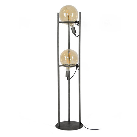 wonenmetlef Dani floor lamp 2-light old silver steel Ø30x130cm