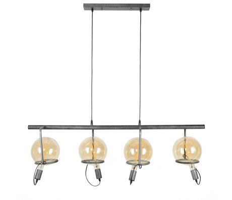 wonenmetlef Dani lampe à suspension 4 lumières ancienne en argent argent 121x28x150cm
