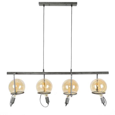 wonenmetlef Hanglamp Dani 4-lichts oud zilver staal 121x28x150cm