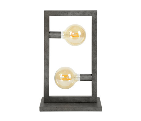 wonenmetlef Table lamp Chey 2-light old silver steel 34x15x55cm
