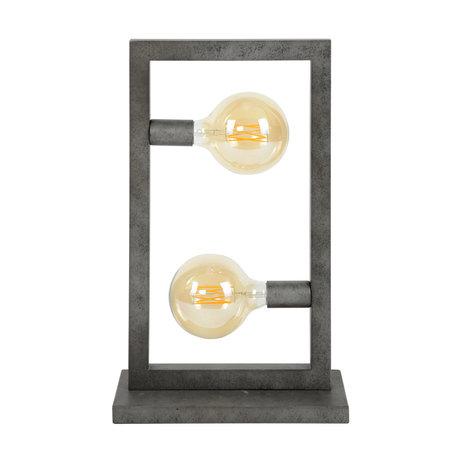 wonenmetlef Tafellamp Chey 2-lichts oud zilver staal 34x15x55cm