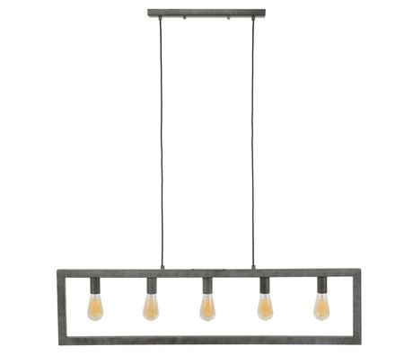 wonenmetlef Hanging lamp Chey 5-light old silver steel 120x12x150cm