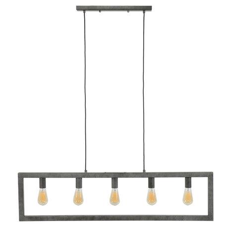 wonenmetlef Lampe à suspension Chey à 5 ampoules au fini argent ancien en acier 120x12x150cm