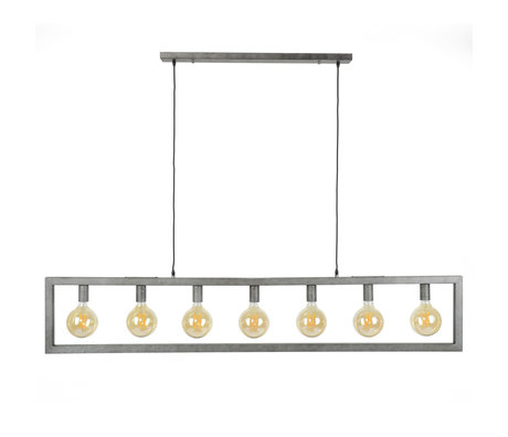 wonenmetlef Hanging lamp Chey 7-light old silver steel 165x12x150cm