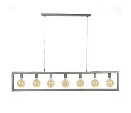 wonenmetlef Suspension Chey à 7 ampoules vieil argent en acier 165x12x150cm