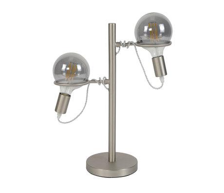 wonenmetlef Lampe à poser Lexi à 2 lumières, acier inoxydable argenté 40x18x55cm