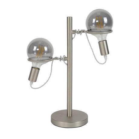 wonenmetlef Tischleuchte Lexi 2-Licht Silber Edelstahl 40x18x55cm