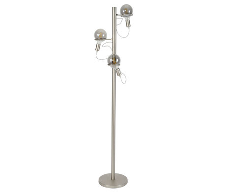 wonenmetlef Floor lamp Lexi 3-light silver stainless steel Ø36x178cm