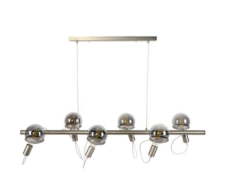 wonenmetlef Lexi hanging lamp 6-light silver stainless steel 121x45x150cm