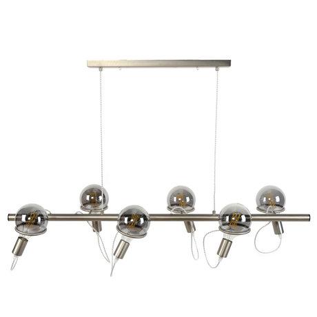 wonenmetlef Lexi suspension 6 lumières en acier inoxydable argent 121x45x150cm