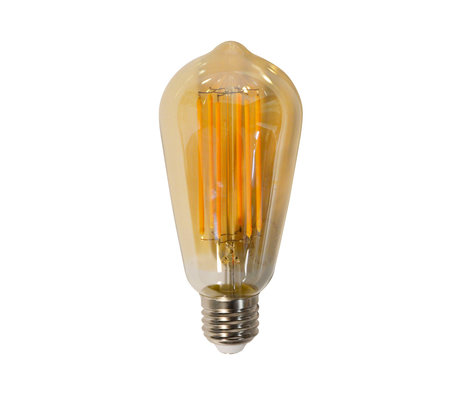 wonenmetlef Birne LED Myla Bernstein gelb Glas E27 Ø6,4x14cm