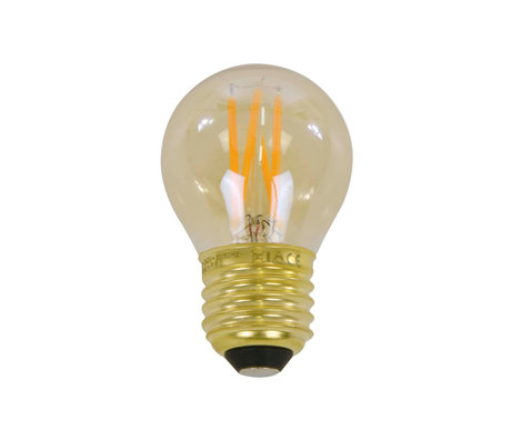 wonenmetlef Bulb LED Ross amber geel glas E27 Ø4,5x7,5cm