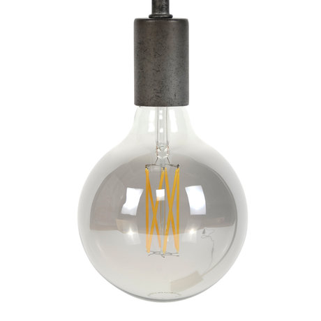 wonenmetlef Bulb LED Zane smoke gray glass E27 Ø12.5x17.5cm