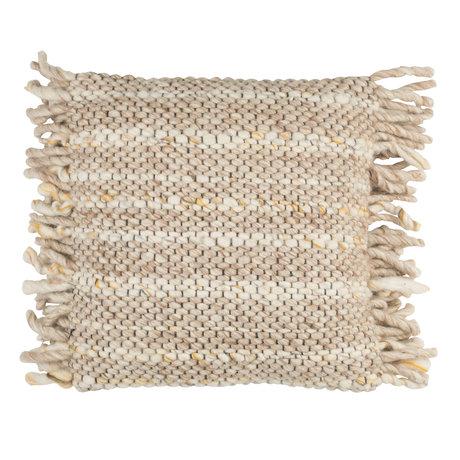 Zuiver Coussin Frills beige coton jaune 45x45cm