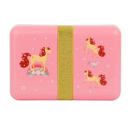 Brotdose Pferd rosa Polyester 18x12x6cm