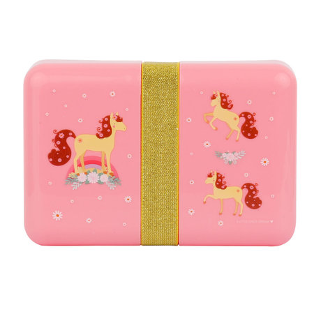 Lunch box horse pink polyester 18x12x6cm