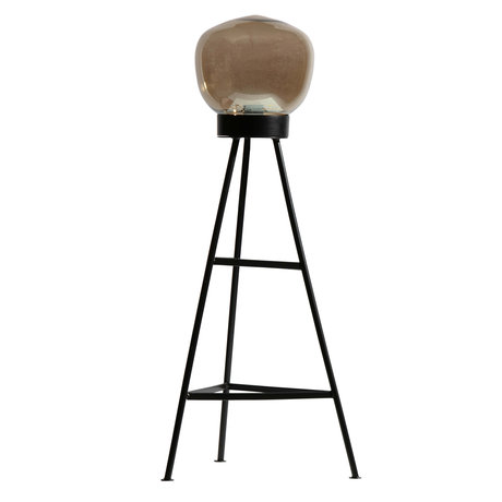 BePureHome Vloerlamp Dome zwart glas 37x37x84cm