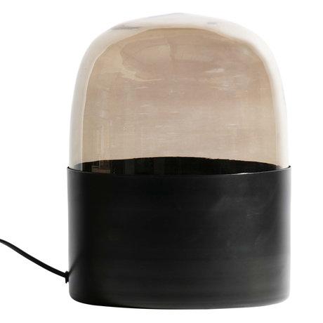BePureHome Lampe à poser dôme verre gris 22x22x30cm