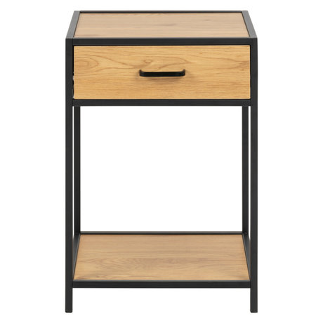 wonenmetlef Bedside table Emmy natural brown black oak wood 42x35x63cm