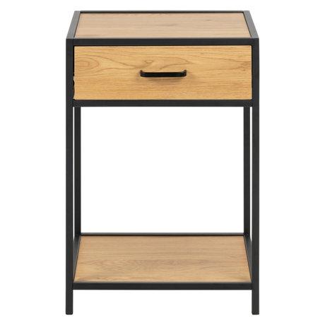 wonenmetlef Table de chevet Emmy en bois de chêne noir brun naturel 42x35x63cm