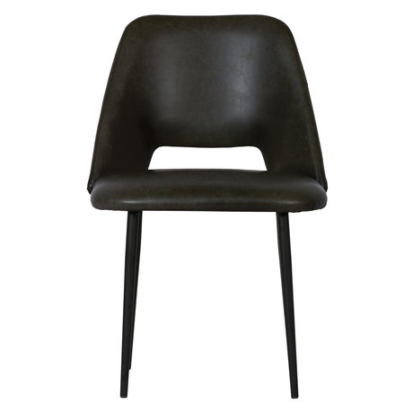 BePureHome Chaise de salle à manger Fifties lot de 2 cuir noir 54x57x81cm