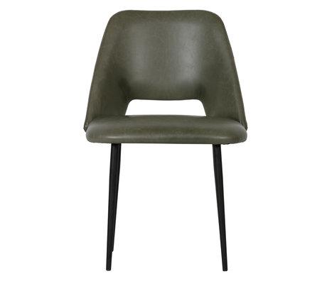 BePureHome Chaise de salle à manger Fifties lot de 2 cuir PU vert olive 54x57x81cm